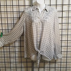 Women's  Knox Rose  Blue Gray Flannel Top